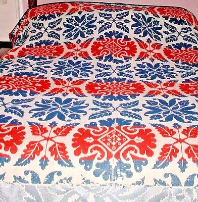 Antique Woven Wool Coverlet-Red White Blue-Large-70 X 84