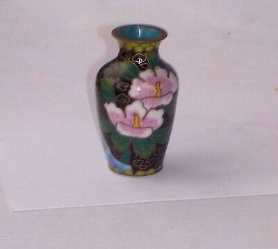 Miniature Chinese Cloisonne Vase With Flowers