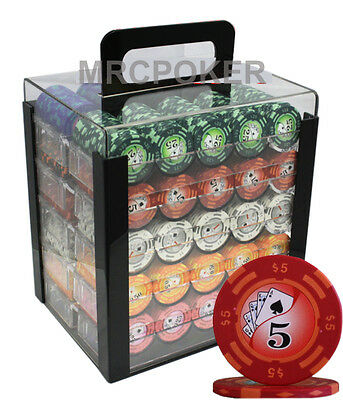 Private - 1000pc 14G CASINO CLAY POKER CHIPS SET ACRYLIC CASE Y9 -private