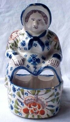 Late C19Th Desvres French Faience Lady Table Salt