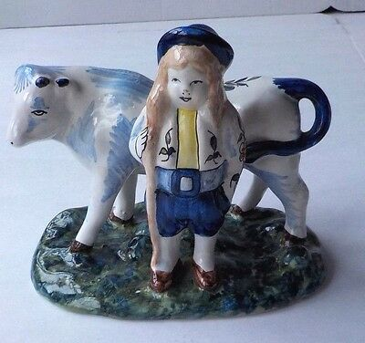 C19Th Desvres French Faience Copy Of C18Th Delft Herdsman With A Cow