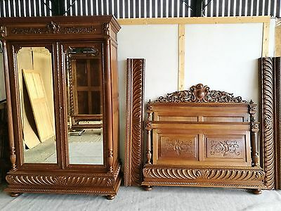 Stunning Antique French Carved Bedroom Suite 5 Ft Wide Bed