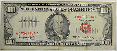 1966 $100.00 United States Note, Fr-1550 Vf W/ Extremely Faint Teller Stamp