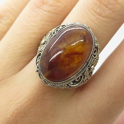 Antq Asia Solid Silver Real Amber Gemstone Filigree Wide Signet Ring Size 6