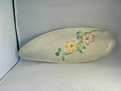 Staffordshire Hand Painted Leaf Shaped Floral Dish Platter Shorter & Son England