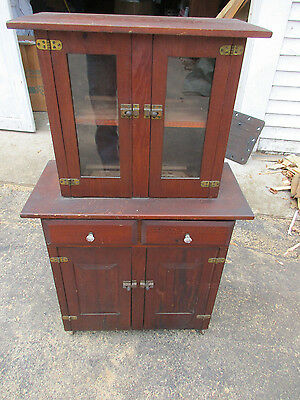 Antique American Child Size StepBack Hutch Cupboard Cabinet Folk Made (t)