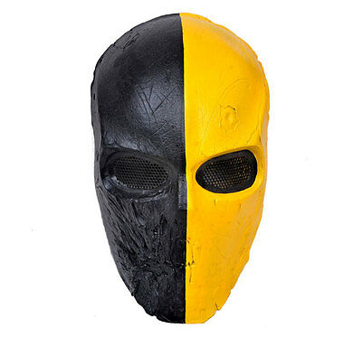 Unique Black Yellow Skull Airsoft Paintball Protection Mask For War Games Equip