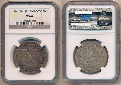 MOROCCO Silver 5 Dirhams AH1299 (1882) NGC MS62 Paris Mint