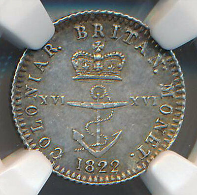 British West Indies 1/16 Dollar 1822 NGC MS 61 Anchor Money