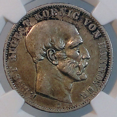 HANNOVER (German State) Thaler 1848-B NGC XF45 ERNST AUGUST