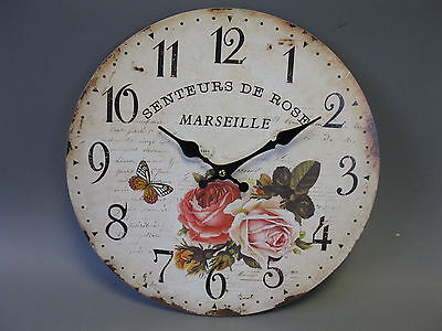Large Wall Clock 34 cm Nostalgic Clock Antique style Roses