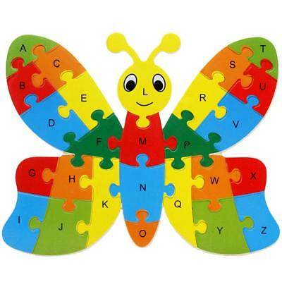 Wooden ABC Alphabet Jigsaw Butterfly Puzzle Children Educational Learning