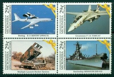 Micronesia Scott #141a MNH Military Weaponry Airplanes Ships Birds $$