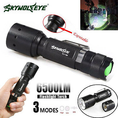 Zoomable 6500LM 3 Modes XML T6 LED Flashlight Skywolfeye Torch Light free
