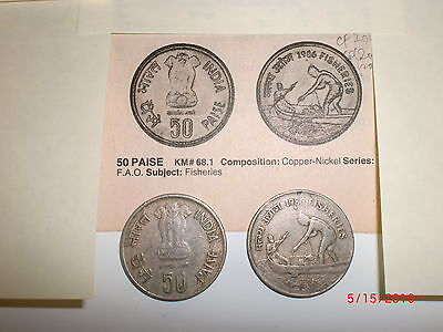 "- India - Old Commemorative Coin - 50 Paise-""fisheries"" -  F. A. O.- 1986"