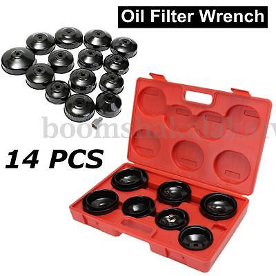 14pcs Oil Filter Cup Type Wrench Tool Removal Socket Cap Remover Adapter Kit Set