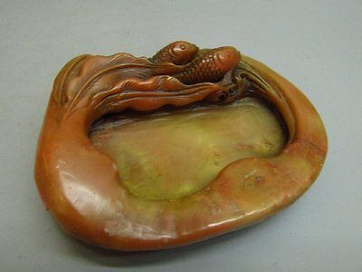 Chinese Shou Shan Stone Carved Fish Inkwell / Brush washer / Seal