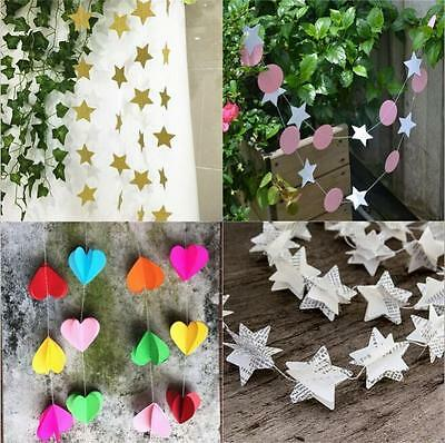 2M Birthday Kids Room Hanging Decor Heart Multi Style Paper Garland Party