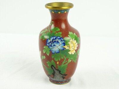 Vintage Chinese Flowers Brown Ground Cloisonne Enamel Vase China c1970 s