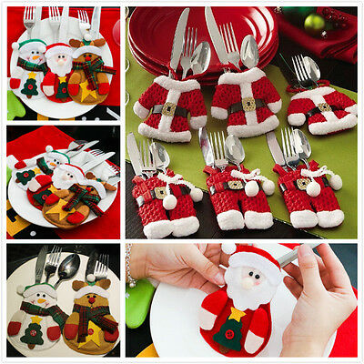 6pcs Christmas Decorations Happy Santa Silverware Holders Pockets Dinner Decor #