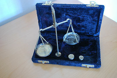 Vintage travelling Apothecary brass scales in hard case.