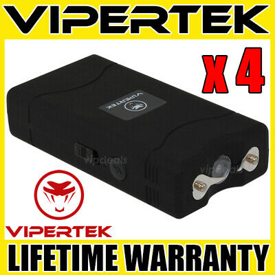 (4) VIPERTEK BLACK VTS-880 Mini Stun Gun Self Defense Wholesale Lot