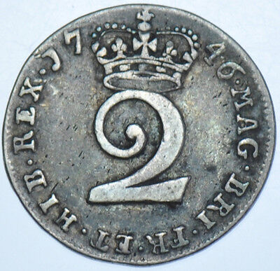 1746 Maundy Twopence British Silver Coin From George Ii Vf