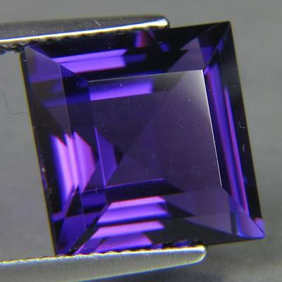 6mm SQUARE-FACET DEEP-PURPLE NATURAL AFRICAN AMETHYST GEMSTONE