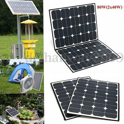 80W Portable Folding Solar Panel Battery Charger For Camping Boat Caravan Home