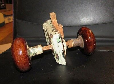 Pair Antique Victorian Brown Porcelain Door Knobs