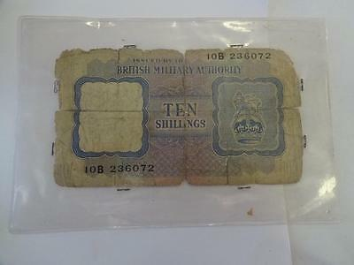 British Military Authority 10 Shillings Wwii Banknote In Plastic Cover