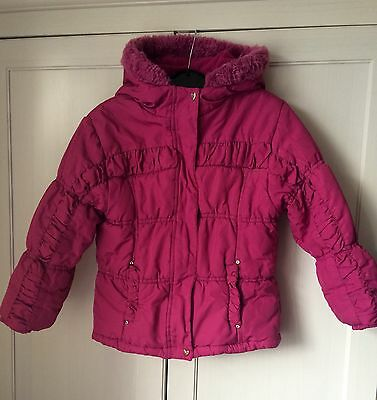 Lovely Girls Pink Padded Hooded Coat Age 6 Years Diamanté Embellished, Faux Fur