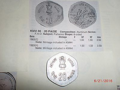 "- India Old Commemorative Coin - 20 Paise - "" Fisheries "" - Rare - F. A. O.-1983"