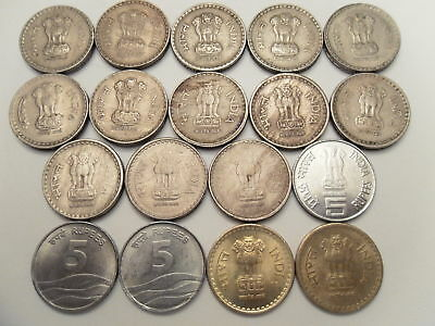 "- India - 24   ""rs.  5/-""  Coins - Full Range -  All Different - 1992-2016 # 5*"