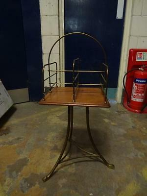 Victorian Mahogany Top Revolving Library Book Stand Brass Wire Work Tripod Base