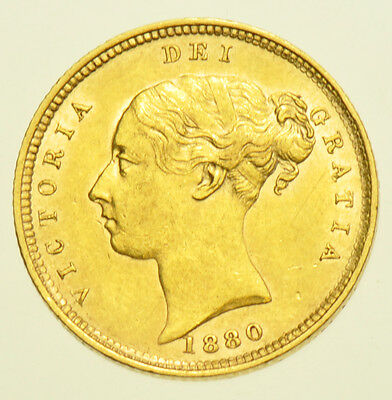 Very Scarce 1880 Half Sovereign British Gold Coin From Victoria V [Die #78]