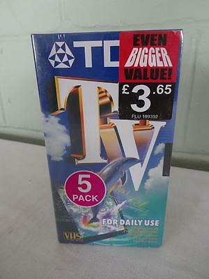 Brand New 5 Pack Of Tdk E-180 Tv Vhs Pal Video Cassette 3 Hours Video Tapes