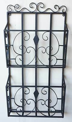 Alcena Transitional 2-Tier Wall Mounted Wrought Iron Magazine Holder