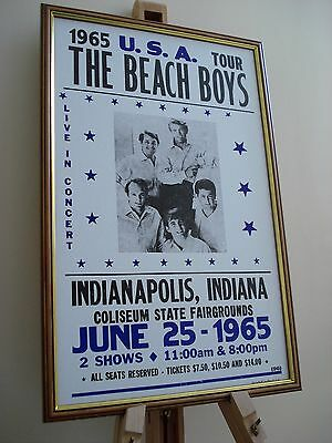 The Beach Boys Indianapolis 1965 Framed Concert Tour Poster