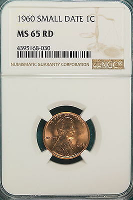 1960 NGC MS65 RED SMALL DATE Lincoln Memorial Cent!! #A6751