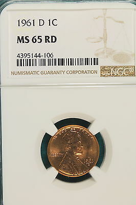 1961-D NGC MS65 RED LINCOLN MEMORIAL Cent!! #A6447