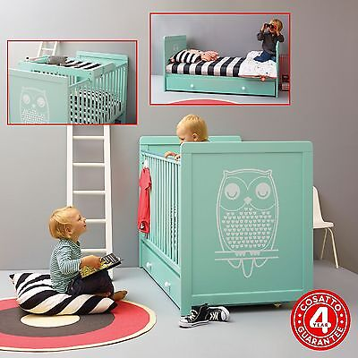 Cosatto Owlet Green 3 In 1 Story Cot Bed Retro Baby Cotbed With Drawer & Changer