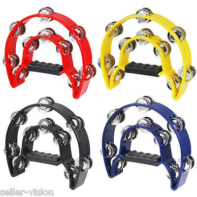 High Quality Single Half Moon Tambourine Instrument 32 Jingles Grip Handle Play
