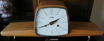 Zentra Chiming Modernist Mantel Clock with Balance Wheel Mid century