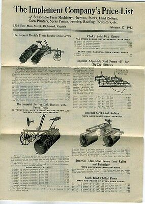 1913 Richmond Virginia Farm machinery Catalog & pricelist THE IMPLEMENT COMPANY