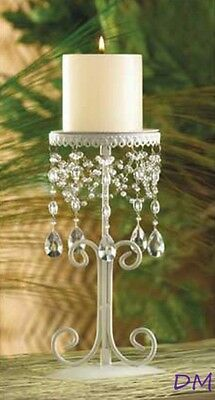 Lot of 12 Distressed White Wedding Jeweled Candle Stands Centerpieces