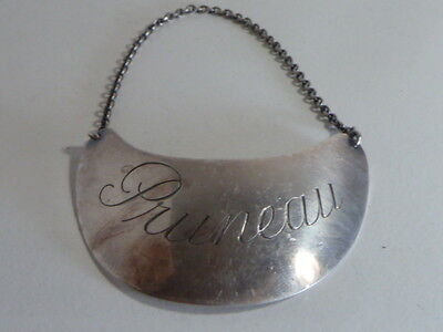 "VINTAGE DECANTER SOLID SILVER LABEL TAG "" PRUNEAU "". - brillant luster ..."