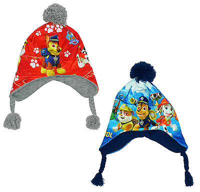 Boys Paw Patrol Rocky Chase Winter Peruvian Bobble Hat with Tassels 3 - 12 Years