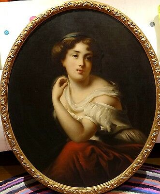Fine Large 19th Century Classical French Lady Portrait Antique Oil Painting