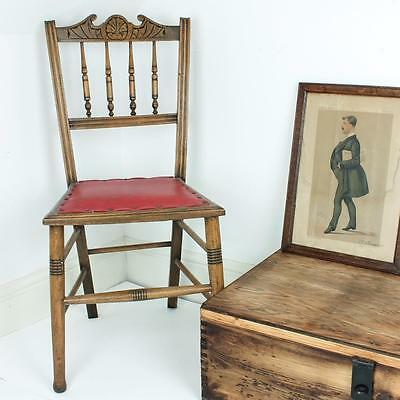 Vintage Antique Wood Dining Bedroom Side Leather Red Dressing Room Chair Retro